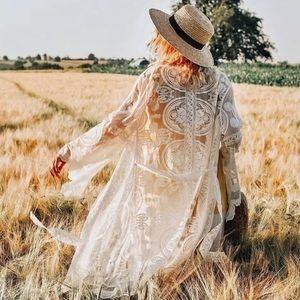 White Bohemian Scalloped Embroidered Duster Kimono